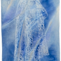 \'bride doll\' embroidery on stained acrylic canvas